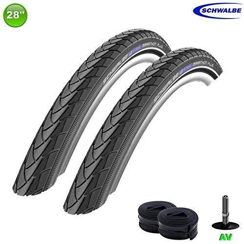 -Schwalbe 2 x Marathon Plus Fahrrad Reifen unplattbar Reflex 40-635 + 2 Schläuche AV17
