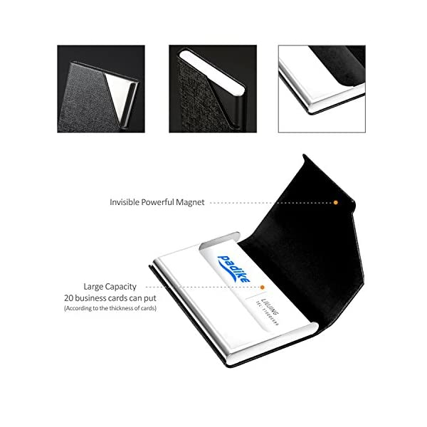 Business Name Card Holder Luxury Leather & Stainless Steel Multi Card Case,Business Name Card Holder Wallet Credit Card ID Case/Holder for Men & Women – Keep Your Business Cards Clean