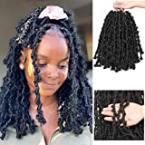 Kelissa 5 Packs 100 Strands Butterfly Locs Crochet Hair Extensions 12 inch Short Distressed Faux Locs Crochet Hair Pre looped Natural Messy Butterfly Bob Locs Pre-twisted Braids Hair
