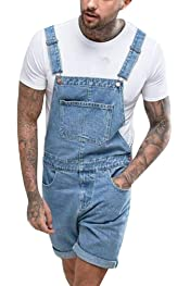 Babao Mens Denim Short Dungaree,Mens Jeans Bib Overall Shorts Distressed Retro Ripped Jumpsuit Regular Fit Playsuit