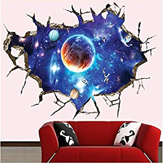 Outer planet Technological Wall Stickers Out Space Galaxy Planet Boys Bedroom Art Vinyl 3D Wall Stickers Decal Room Decor