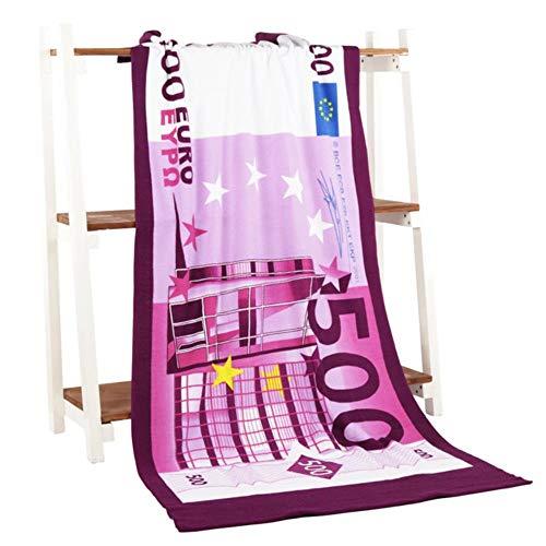 LASISZ Euro Money Bath Towel Microfiber Printing Activity Beach Towel Hair Super Soft Water 70 * 140 cm,Soft 30 Design,500 EUR,70x140cm