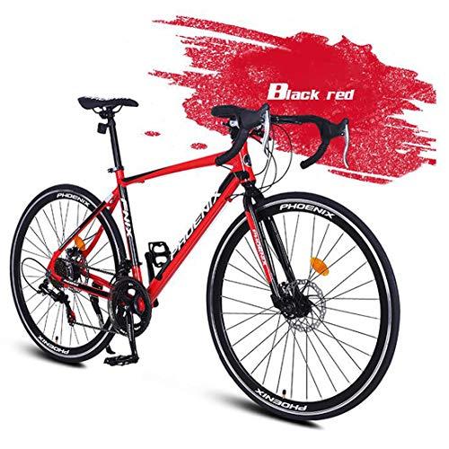 WYZQ Bicicleta De Carretera 700C, Bicicleta De Carretera De 14 Velocidades, Freno De Doble Disco, Cuadro De Aleación De Aluminio Ligero, Bicicleta De Velocidad Variable, Hombres Y Mujeres,Rojo