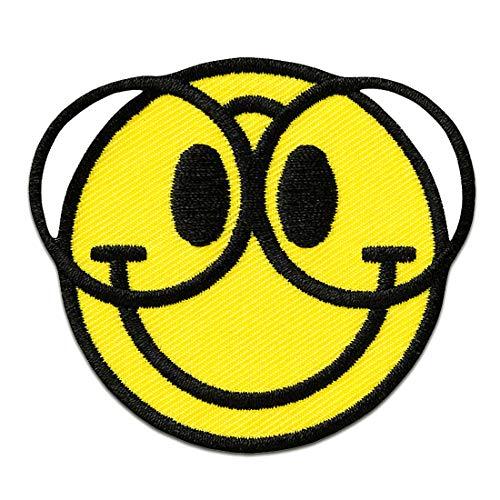 Smiley mit Brille - Aufnäher, Bügelbild, Aufbügler, Applikationen, Patches, Flicken, zum aufbügeln, Größe: Ø 5,5 cm