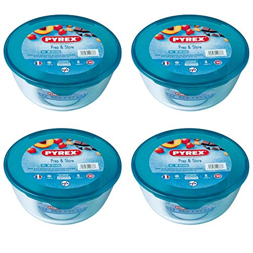Pyrex Microwave Safe Classic Round Glass Dish Plastic Lid 2.0 Litre Blue (Pack of 4)