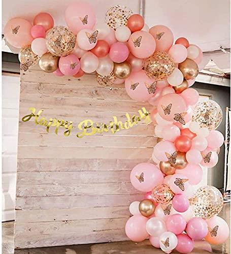 Unisun - Kit de arco de globos, 140 globos de macaron, globos de confeti metálicos dorados con 12 mariposas 3D, kit de bricolaje para niñas, baby shower, decoración de fiesta de cumpleaños, boda