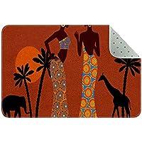 エリアラグ軽量 アフリカの女性のヤシの木象キリン フロアマットソフトカーペットチホームリビングダイニングルームベッドルーム