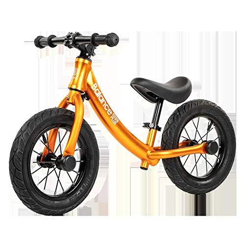PINGHC Delivery®⭐⭐⭐⭐⭐ Ruedas para Niños Marco De Material De Aleación De Aluminio para Bicicleta De Entrenamiento para Niños De 12 \'y Lenklimit con Asiento Ajustable,Gold