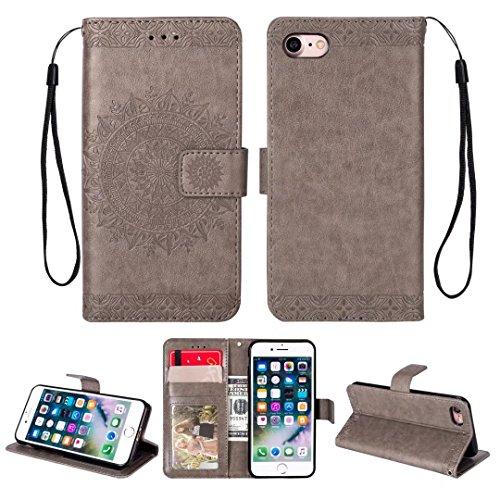 iPhone 5/5S/5SE hoesje PU lederen portemonnee reliëf Mandala bloem standaard Flip case credit card slot beschikt over beschermende DECHYI case, Grijs, iPhone 7/8 (4.7