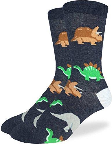 Good Luck Sock Men's Jurassic Dinosaur Crew Socks - Black, Adult Shoe Size 7-12