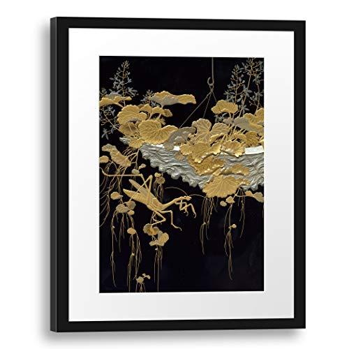 Printed Paintings Passepartout (40x55cm): Periodo Meiji - Shikishi (Papel de caligrafía Cuadrada) Caja con diseño de Flores y Mantis Religiosa