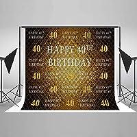 新しい2.1×1.5m40歳の誕生日の写真の背景写真スタジオスタンドの背景マイクロファイバーお誕生日おめでとうパーティーバナーの背景写真撮影