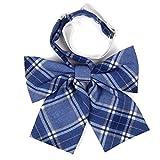 Hirayuki リボン スクールリボン 50種類以上の豊富なバリエーション サイズ調節可能 ワンタッチ装着 良質な織り生地を使用 (ブルーXタータン)