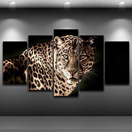 Lona Pintura Sobre Lienzo Decoración Poster HD Impreso Moderno 5 Grupo Feroz Leopardos Bastidor Modular Ilustrados Hogar De La Pared De La Sala (Size : 40x60 40x80 40x100cm)