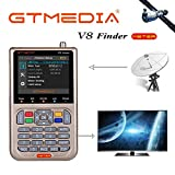 GT MEDIA V8 Pointeur Satellite Finder Mèter pour le réglage d'une Parabole Satellite DVB-S/S2/S2X 3.5'LCD Batterie 3000mAh avec un sac de transport