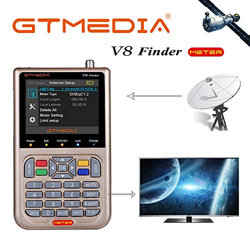 GT MEDIA V8 Satelliten Finder Meter Digital HD Satellitenfinder Sat Messgeräte mit Satellitenerkennung DVB-S/S2/S2X zur exakten Justierung Ihrer Sat Antenne 3,5