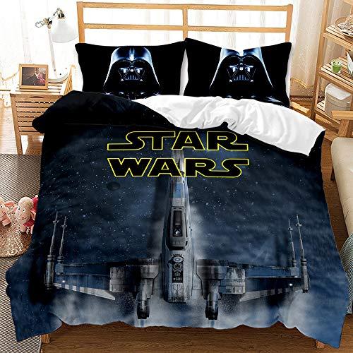 Amacigana 3D Star Wars Juego de ropa de cama con cremallera, funda nórdica con 3 piezas, 1 funda nórdica y 2 fundas de almohada, para niños y niñas (A10,135 x 200 cm + 50 x 75 cm)
