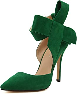 Women's D'Orsay Dress Pumps Pointy Toe Stiletto High Heels with Bowknot