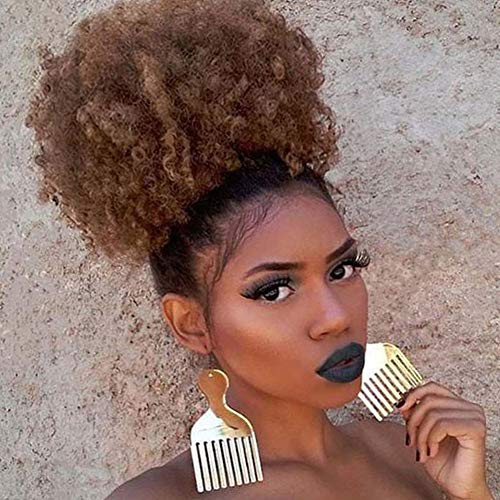 Afro Puff Drawstring Ponytail Hair BunSynthetic Short Kinky Curly Wig Black Ponytail for Natural Hair Afro Buns Wrap Updo Hair Extensions