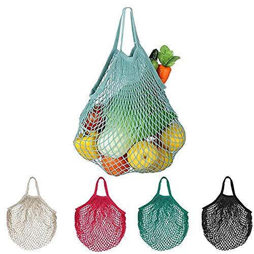 5 Algodón Orgánico de La Bolsa de Malla, Bolso de Compras de Malla de Algodón, Bolsas de Malla Rejilla, Bolsa de Compras Reutilizable como Bolsa de Embalaje de Frutas (5 Colores)