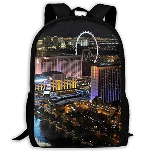 Las Vegas Night View Print Adult Backpack Travel Backpack Business Bags Student Lightweight Laptop for Adults,Older Children
