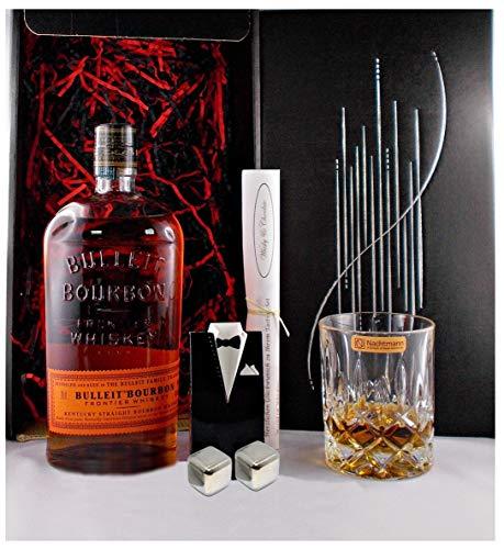 Geschenk Bulleit Frontier Bourbon Whiskey + Glas + 2 Whisky Kühlsteine