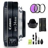 GYTE Bundle | Objetivo Canon - EF-S 24mm f/2,8 STM - Lente Pancake para Cámara Reflex Digital + Kit de Filtro de 3 Piezas + Juego de Limpieza | Paquete de Accesorios Premium