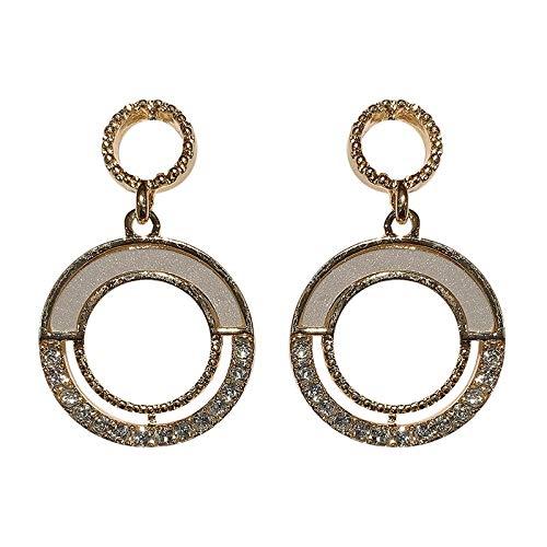 Pendientes de anillo de temperamento elegante pendientes de diamantes de imitación exquisitos pendientes de aguja de plata 925 mujer