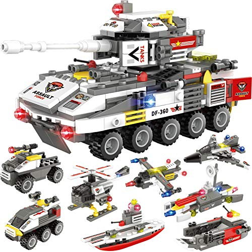 932 Pieces Tank Building Blocks Set, Military Army Armored Fighting Vehicle Model Building Toy, with Helicopter, Boat, Car, Storage Box with Baseplates Lid, Present Gift for Kids Boys Girls 6-12