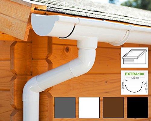 Dachrinnen/Regenrinnen Set | Pultdach (1 Dachseite) | Extra100 | in 4 Farben! (Komplettes Set bis 7.00 m, Weiß)