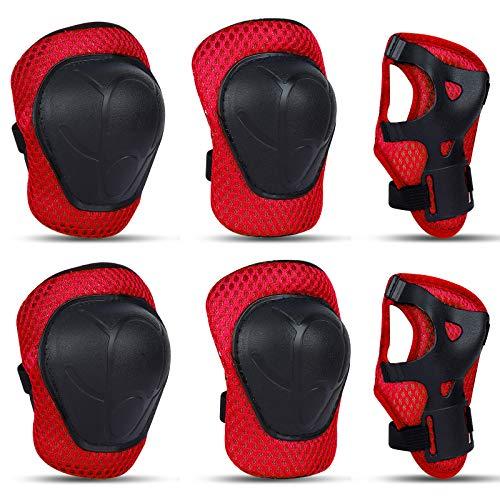 GUBOOM Protezione Kit per Bambini, 6 in 1 Set di Protezioni per Bambini, Protezioni Bici Bambino, Set di Ginocchiere per Bambini per Skateboard,Bicicletta,Pattinaggio e Altri Sport Estermi (Rosso)