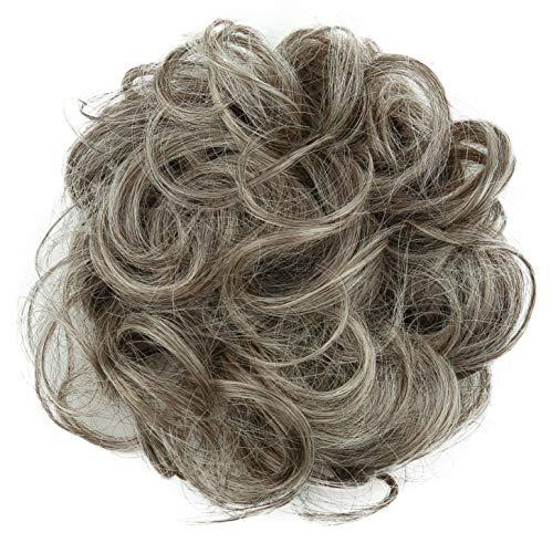PRETTYSHOP Haarteil Haargummi Hochsteckfrisuren Brautfrisuren Voluminös Gelockt Unordentlich Dutt Grau Blond Mix G21A