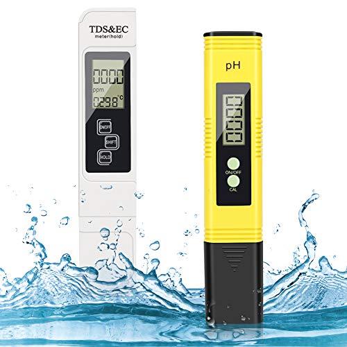 pH Messgerät, Digital pH TDS EC und Temperatur Messgerät 4 in 1 Set, Wasserqualität Tester(ATC) Hoher Genauigkeit mit LCD Display, Digital PH TDS Messgerät für Trinkwasser/Schwimmbad/Aquarium Pools