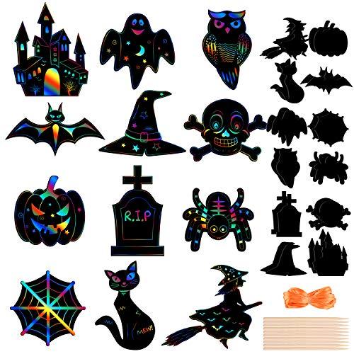 MIAHART Halloween Theme Scratch Paper Kit de Manualidades para rascar arcoíris con 10 lápices de bambú y Cintas de 8 m para Manualidades de Halloween de Bricolaje (Paquete de 24)