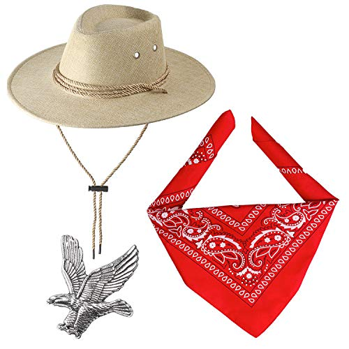 Haichen Cowboy Kostuumaccessoires Cowboyhoed met Bandana Cowboy Set voor Halloween Cosplay Fancy Dress up (Beige)