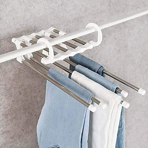 Appendiabiti, appendiabiti Multifunzionale 5 in 1 Pantaloni di stoccaggio Pantaloni di stoccaggio Pantaloni regolabili Tie Stoccaggio Deposito Armadio Armadio Organizzatore Acciaio Abiti appendiabiti