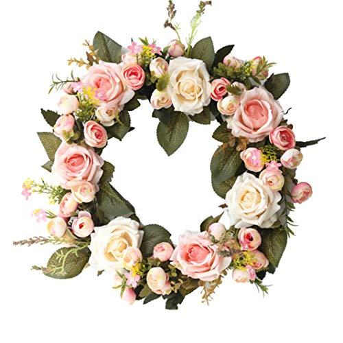zzJiaCzs Artificial Rose Flower,Faux Rose Flower Wreath Window Door Decoration Ornament Showcase Garland - Pink