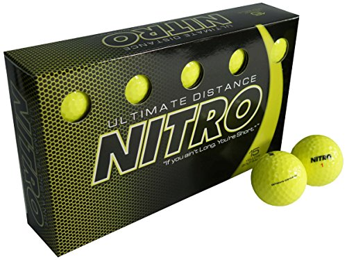Nitro Long Distance High-Durability Golf Balls (15PK) All Levels Ultimate Distance Titanium Core High Velocity Great Stop & Sticking Ability Golf Balls USGA Approved-Total of 15-Yellow