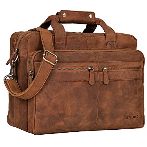 STILORD 'Explorer' Lehrertasche Leder Herren Damen Aktentasche Büro Schulter- oder Umhängetasche für Laptop mit Dreifachtrenner Echt Leder Vintage, Farbe:tan - Dunkelbraun