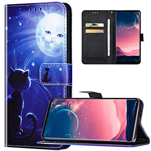 JAWSEU Coque Galaxy A51 Portefeuille PU Cuir Étui pour Galaxy A51,Rétro Motif Livre à Rabat Coque Housse Protection Magnétique avec Support Wallet Flip Case Cover,Chat et lune