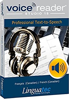 Voice Reader Studio 15 Français (Canadien) / French (Canadian) – Professional Text-to-Speech Software (TTS) for Windows PC / Convert any text into audio / Natural sounding voices / Create high-quality audio files / Large variety of applications: E-learning; Enrichment of training documents or advertising material; Traffic announcements, Telephone information systems; Voice synthesis of documents; Creation of audio books; Support for individuals with sight disability or dyslexia / Pronunciation can be customized via user dictionaries / Cost-efficient alternative to recording studios / Available in 45 languages / Direct Integration in Microsoft® Word, Outlook and Power Point / This version contains 2 female voices and 1 male voice