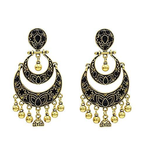 Nuevos pendientes populares europeos y americanos moda luna exagerada diosa multicapa tallada pendientes retro joyera-oro