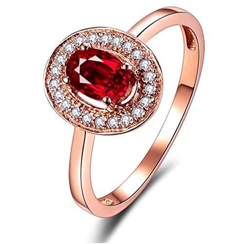 AmDxD oro rosa de 18 K oval-shape Red White Ruby