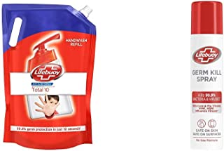 Lifebuoy Total 10 Liquid Handwash Refill With 99.9% Germ Protection Fights Bacteria And Viruses, 1.5l & Lifebuoy Antibacte...