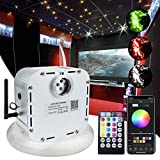 AMKI 32W Bluetooth Controlled Fiber Optic Light Star Ceiling Kit,LED RGBW Twinkle Engine Driver with RF 28 Key Remote Control + Crystal + Cables (800pcs(400pcs13.1ft+400pcs9.6ft))
