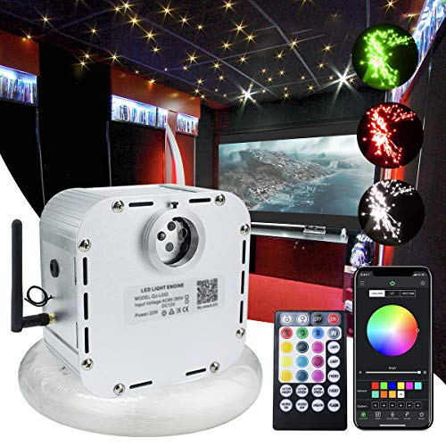 32W Bluetooth Controlled Fiber Optic Light Star Ceiling Kit,LED RGBW Twinkle Engine Driver with RF 28 Key Remote Control + Crystal + Cables (800pcs(400pcs13.1ft+400pcs9.6ft))