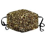 Wrution Gold Sparkle Glitzer Pailletten Baumwolle Gesichtsmaske Mundmaske Atmungsmaske bequem wiederverwendbar für Männer und Frauen
