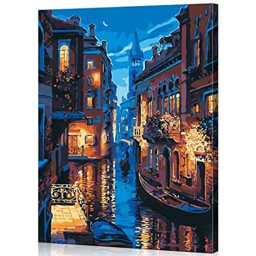 WONZOM Dipingere con i Numeri DIY Acrilico Dipinto Kit per Adulti e Bambini - 16 * 20 Pollici Serata a Venezia con 3 Pennelli e Colori con Cornice in Legno