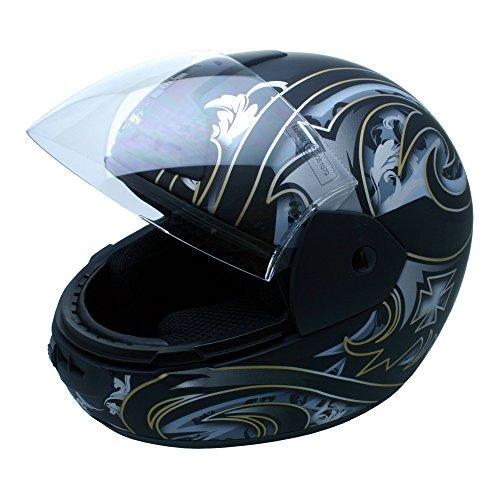 Roadstar Integral-Helm Arrow Iron, Schwarz/Silber (Matt), Größe 55/56
