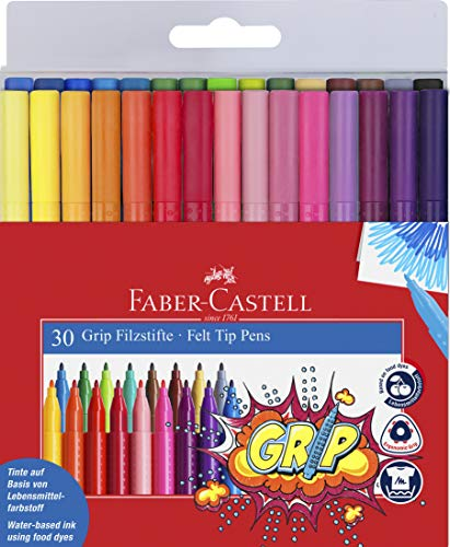 Faber-Castell 155335 - Filzstift Grip Colour Marker, 30er Etui
